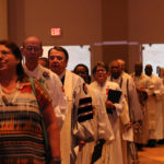 The North Central Jurisdiction College of Bishops process into opening worship on Wednesday, July 13 at the Civic Center in Peoria, Ill. Photo by NCJ communicators.